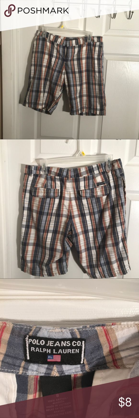 Polo Jeans Co - Ralph Lauren  Shorts -  8 Women's Size 8 Bermuda Shorts -Polo - Ralph Lauren  Cute Plaid Design - Good Pre - Owned Condition Ralph Lauren Shorts Bermudas