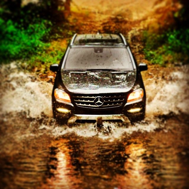 Through the river and over the woods in the #ml350. #mclass #mercedes #benz
