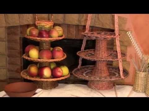 Ваза для фруктов трехъярусная. Плетение из газетных трубочек   oblacco