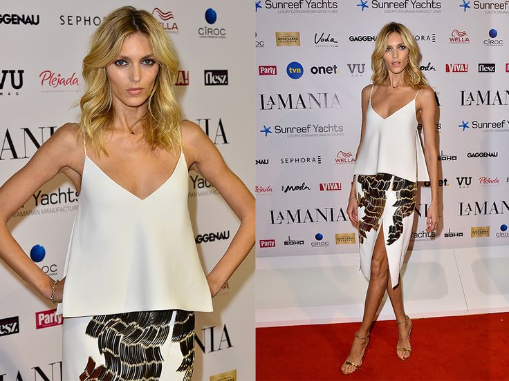 A special hand-embroidered set worn by Anja Rubik at La Mania's Spring/Summer 2015 fashion show. #LaMania