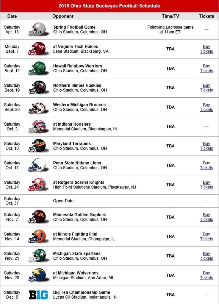 2015 THE OHIO STATE BUCKEYES FOOTBALL SCHEDULE.