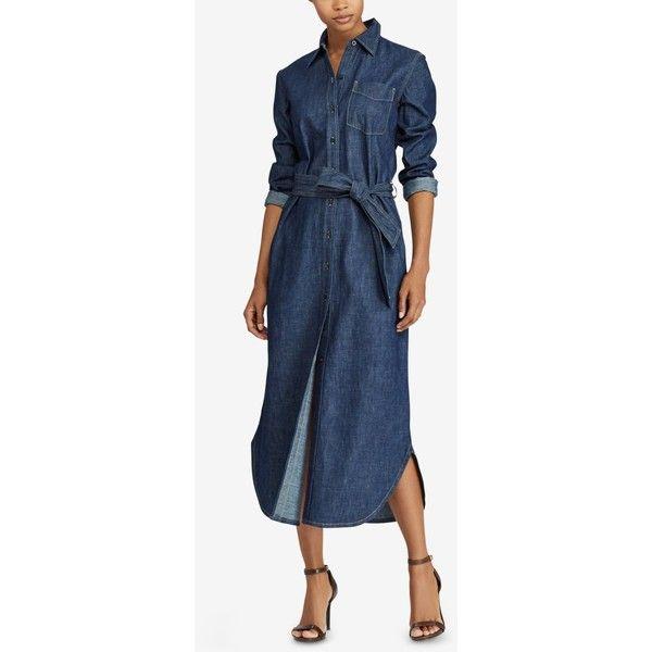 Lauren Ralph Lauren Denim Cotton Maxi Shirtdress ($135) ❤ liked on Polyvore featuring dresses, pure rinse wash, maxi dress, long shirt dress, long maxi shirt dress, blue dress and t-shirt dresses
