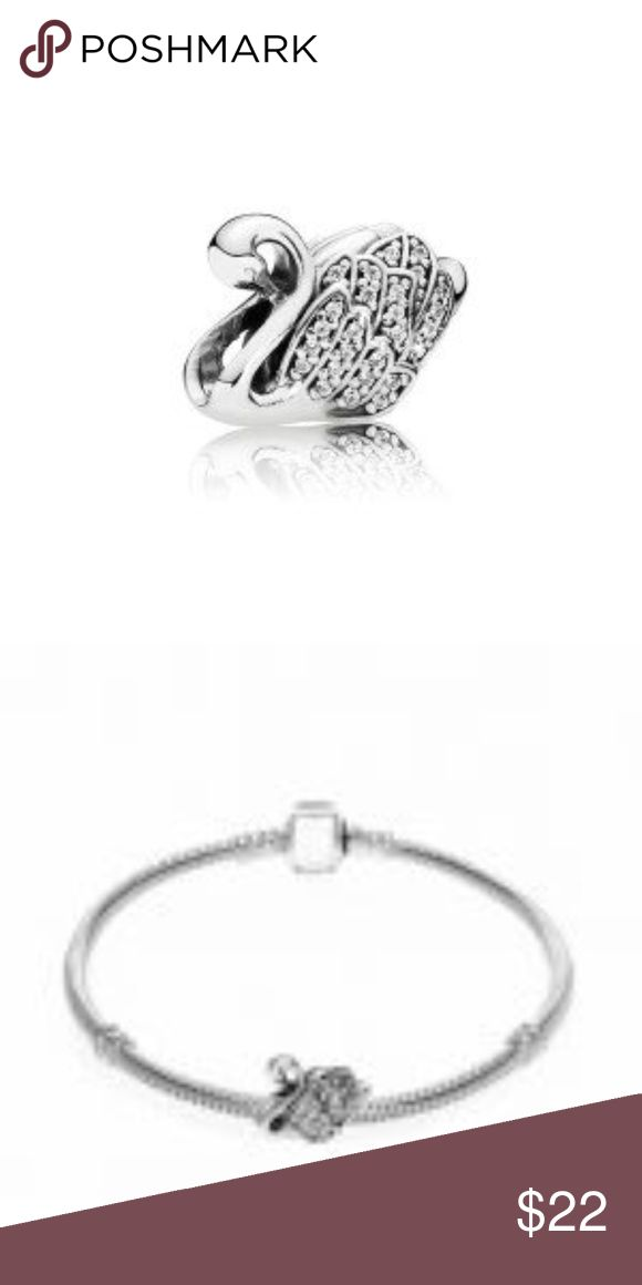 Sterling Silver Majestic Swan Charm This Beautiful And Stunning Forever Charm Majestic Swan is sterling silver with clear cz stones and key. This charm is threaded and will fit Pandora jewelry. CH069 WEIGHT 3.02 THREADED Clear CZ Stones Pandora-lke Jewelry