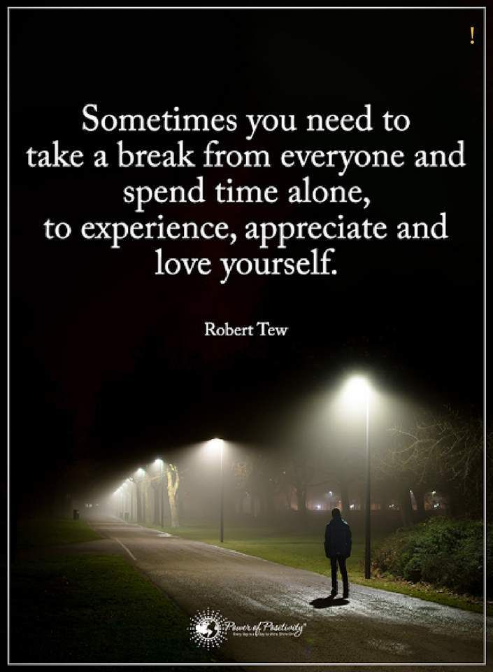 sometimes quotes sometimes you need to take a break from everyone and spend time alone, to experience, appreciate and love yourself.