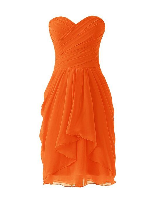 Dressystar Robe de demoiselle d'honneur/soirée/bal courte, à Col en Cœur,en Mousseline Taille 38 Orange