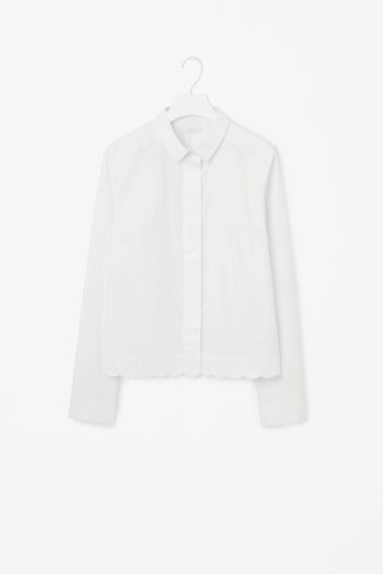 COS image 2 of Shirt with scalloped hem in White