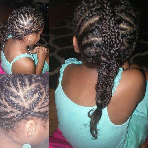 Fishtail braid heart braid design mixed chix birracial mohawk