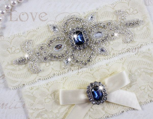 SALE  MADRID II  Sapphire Blue Wedding Garter by HannabellaDesigns, $15.95....the something blue :)