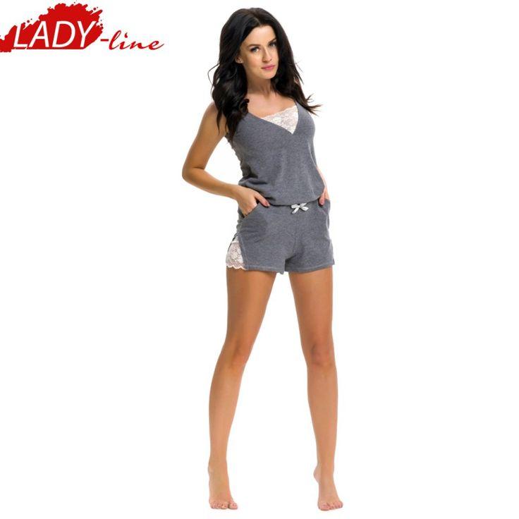 Poze Pijama Dama Cu Bretele si Pantalon Scurt, Material Bumbac 60% si Polyester 40% Prime Quality, Model 'Hot Summer', Brand DN NightWear, Culoare Gri, Pijamale Polonia