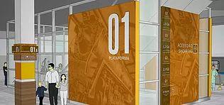 Projeto de sinalização ambiental desenvolvido para o Shopping Estação BH. Minas Geraes. Wayfinding para empreendimentos comerciais e residenciais.