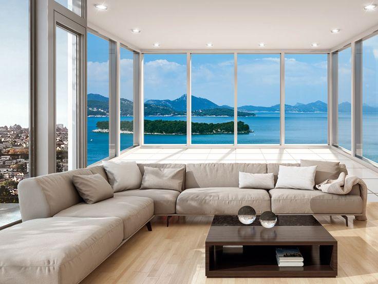 """Fototapete """"Delightful View"""" ☀☀☀  Motive der Tapete: Meer, Natur, Wasser, Landschaft, Fensterblick, Inseln. Verleihen Sie dem Raum einen besonderen Charakter mit einer Fototapete Landschaften ☀☀☀"""