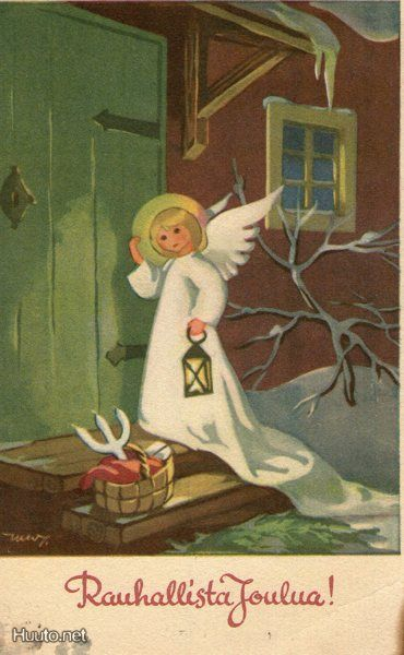 Vintage Finnish Christmas Angel Card by Martta Wendelin