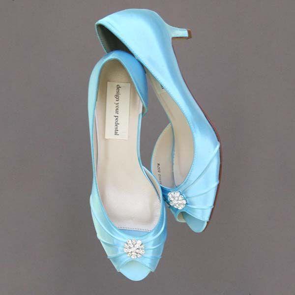 Custom Wedding Shoes: Pool Du0027Orsay Style Peeptoe Kitten Heel Wedding Shoes  With Simple