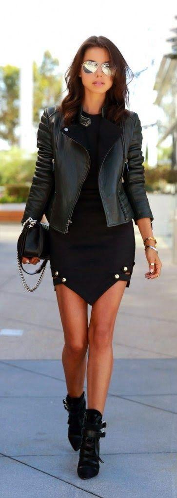 Street fashion edgy black leather jacket