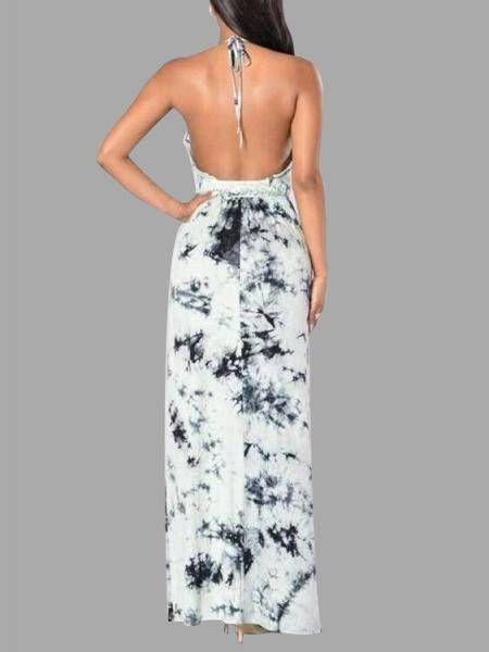 Sexy Black Floral Print Deep V-neck Backless Maxi Dress