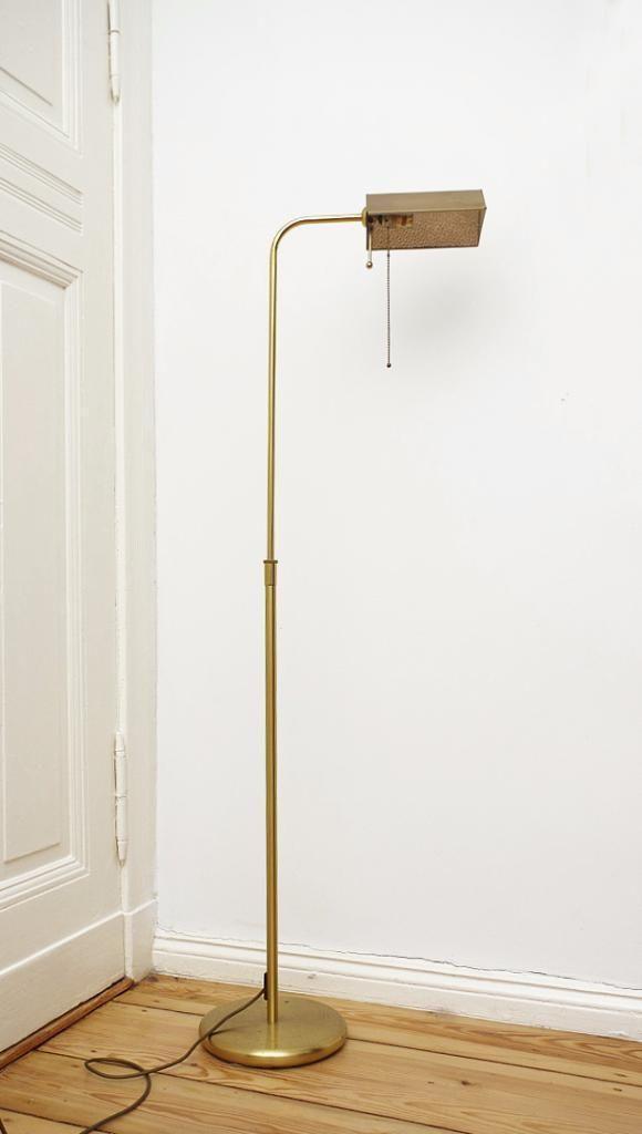 Stehlampe - Bankerlampe ca. 99 cm hoch / auf ca. 136 cm ausziehbar Lampenschirm ca. 15 cm lang x 13...,Stehlampe Bankerlampe Bodenlicht Lampe Messing in Berlin - Lichtenberg