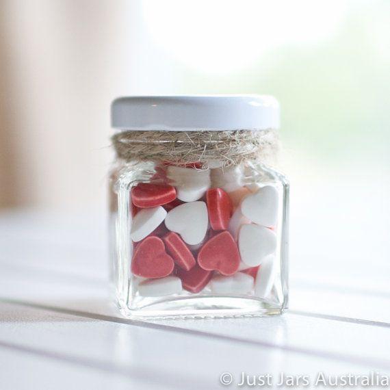 144 mini 50ml square glass jars - White lids - DIY wedding favours / Bomboniere / Bonbonniere on Etsy, $159.91