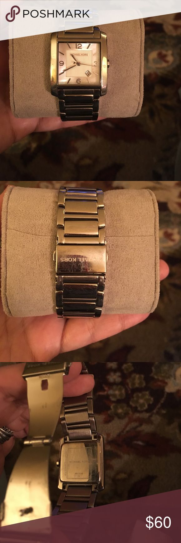 Michael Kors watch Michael Kors silver watch gently used no scratches on face but some normal wear on band needs battery box included Michael Kors Accessories Watches