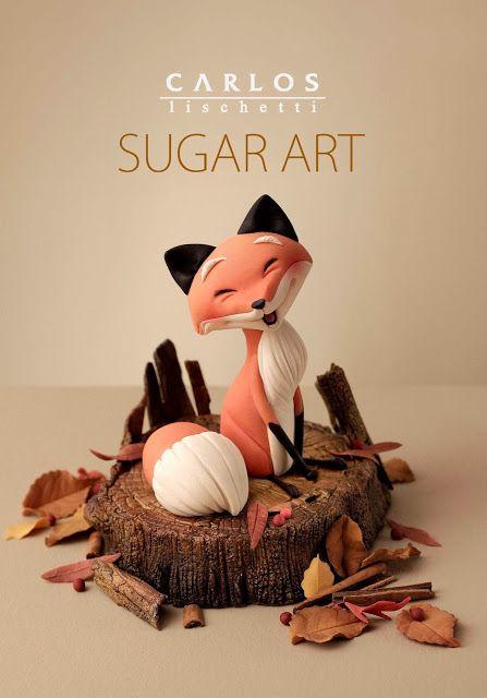 Beautiful sugar fox made by Carlos Lischetti - great inspiration for a polymer clay fox!