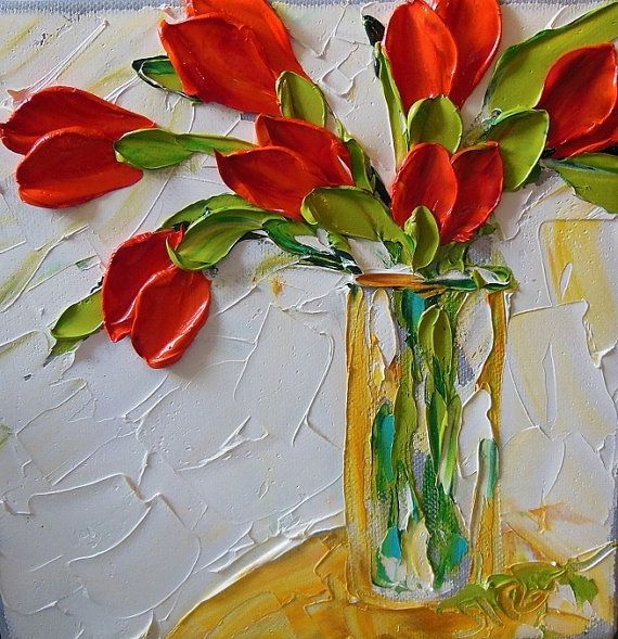 Oil Painting Impasto Painting Red Tulips on White