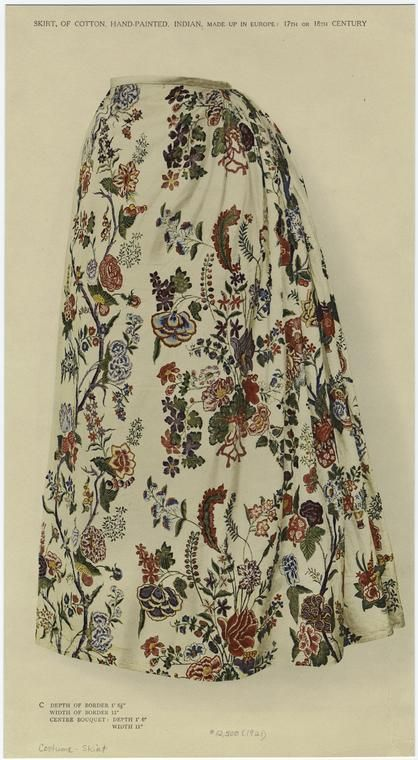 Skirt, of cotton, hand-painted, Indian, made up in Europe: 17th or 18th century, (1921).