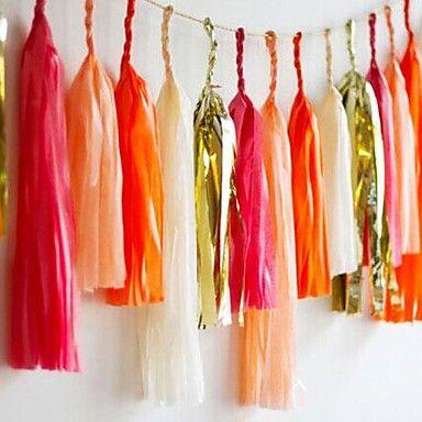 15 inch (38cm) weefsel kwastje slingers papier guirlande banners diy voor bruiloft partij decoratie (set van 5) – EUR € 5.99