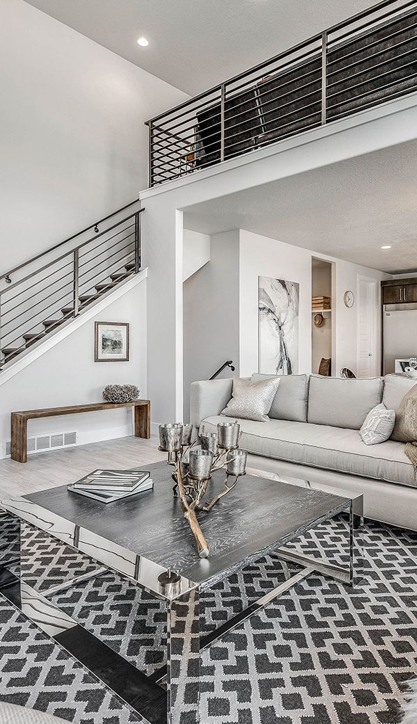 Silver Accents In Beautiful Black And White Themed Family Room. Home Design  With Open Loft And Stairway From Candlelight Homes, We Build Beautiful.