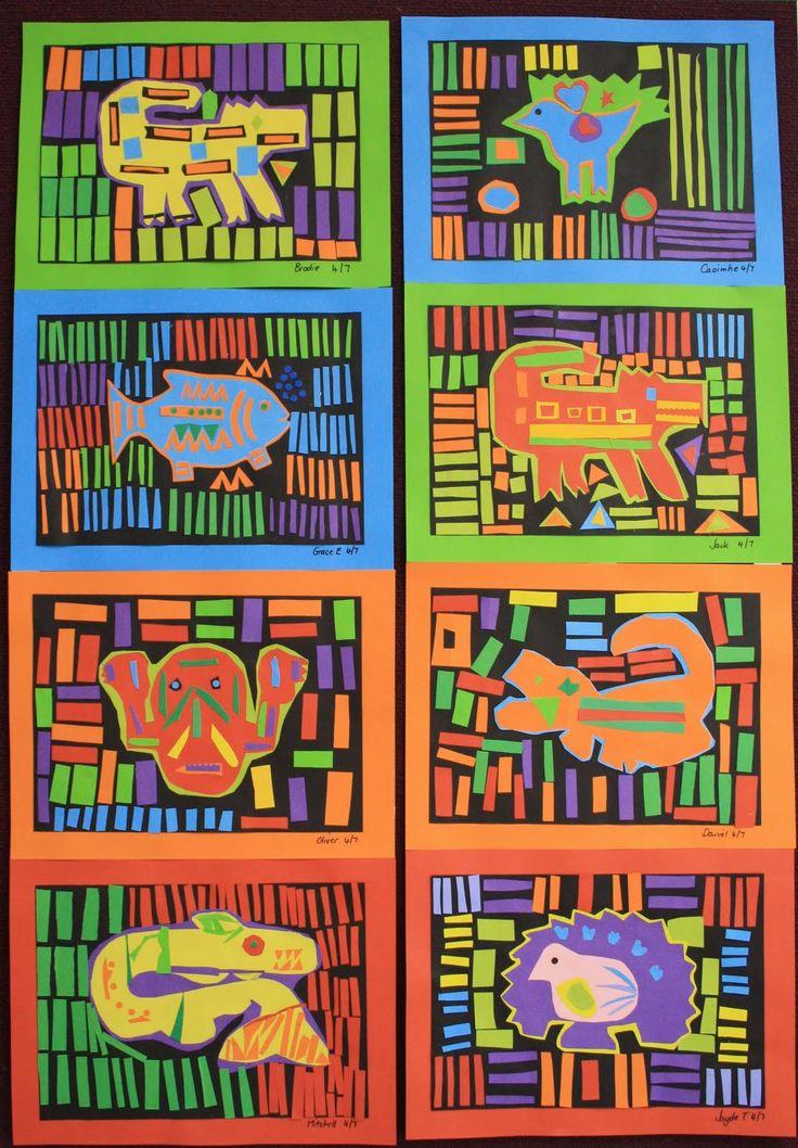 Paper Molas made by students 8-11yrs. Seen at art teacher, Cheryl Hancock's, blog at http://cheryl-hancock.blogspot.ca/