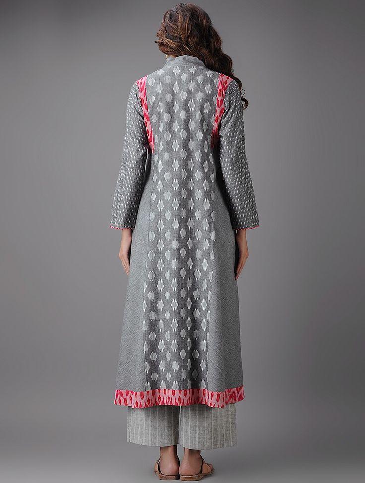 Buy Grey Red Ivory Ikat Cotton Kurta Online at Jaypore.com