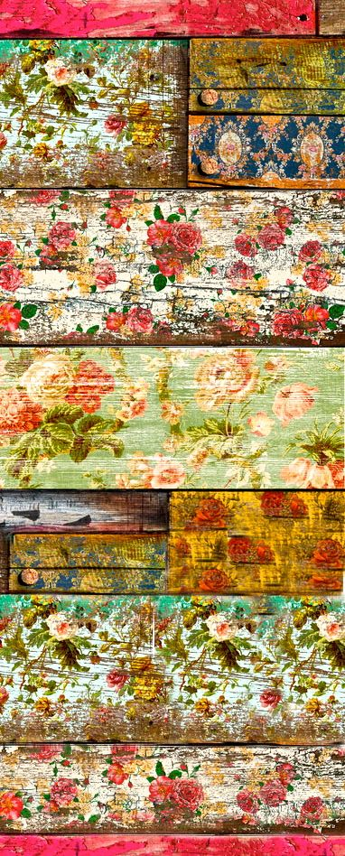 Old floral wallpaper glued to wood and then sanded to give a distressed/aged effect.