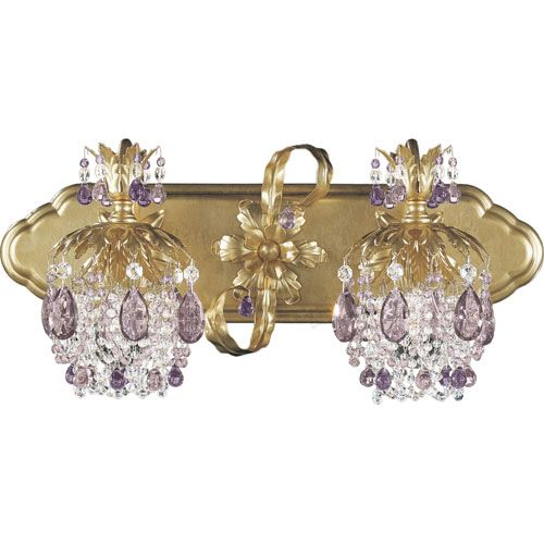 Rondelle French Gold Two Light Amethyst Vintage Crystal Bathroom Light Wow  Gorgeous Pricey But So