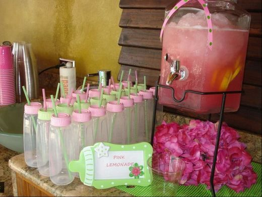 This website has tons of cute babyshower ideas!: Polka Dots, Babyshower Ideas, Baby Shower Drinks, Baby Shower Ideas, Cute Ideas, Parties Ideas, Pink Lemonade, Baby Bottles, Babyshowerideas