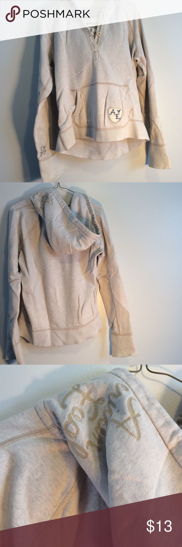American eagle gray hoodie size medium It's a gray American eagle sweatshirt size medium. Has been loved so the fleece on the inside isn't new but still in great condition! Offers welcome using the offer button😊 American Eagle Outfitters Tops Sweatshirts & Hoodies