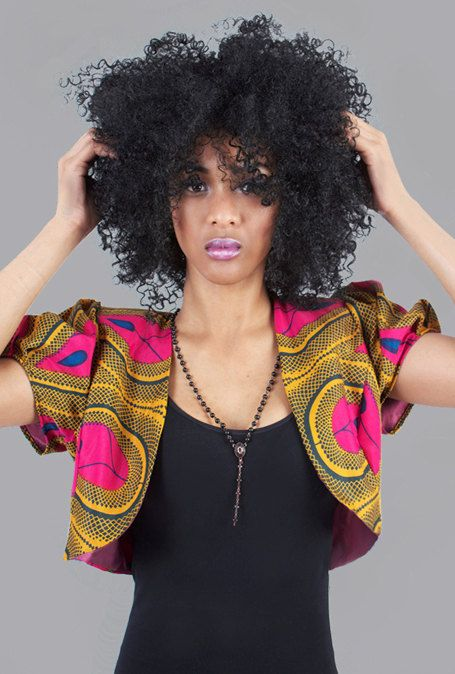 Pink & Yellow African Tribal Print  Crop Jacket  by tolatola