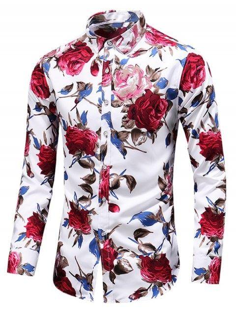 af7d4147d5e7 Casual Rose Print Button Up Shirt - WHITE 2XL