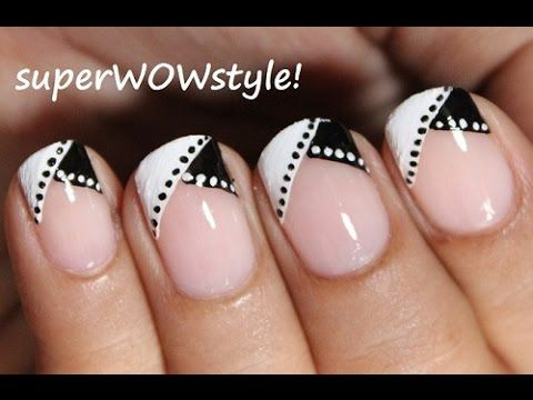 Black and White Nail Art : In French Tip Manicure!