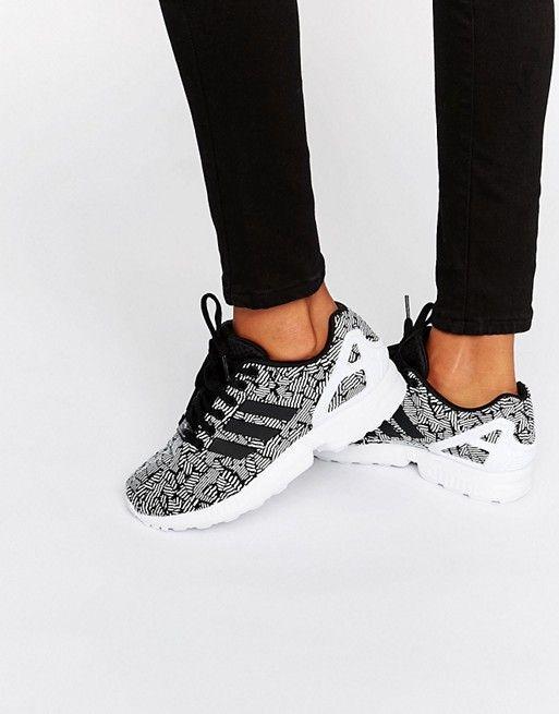 Adidas   adidas Originals - Zx Flux - Scarpe da ginnastica nere con stampa e righe laterali