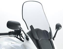 Cockpitscheibe mit Windabweiser - Tourenscheiben für entspanntes Fahren. Die Windschutzscheibe setzt neue Maßstäbe in punkto Design und Komfort, entspanntes Fahren auf langen Touren. In rauchgrau (leicht getönt) und dunkel (schwarz getönt) mit ABE lieferbar.