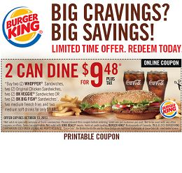 Burger King Coupon: 2 Can Dine Deal for $9.48 + Buy One Get One Free Coupons