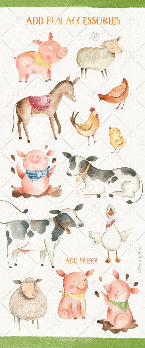 Nutztiere Aquarell Clipart Digital Download Druckbare Clipart Kinderzimmer Kunst Wandkunst Sc Watercolor Animals Watercolor Clipart Farm Animals