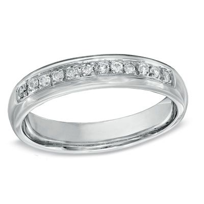 Zales Mens 1/6 CT. T.w. Diamond Three Stone Wedding Band in Sterling Silver and 10K Gold (15 Characters) MgmLLzB