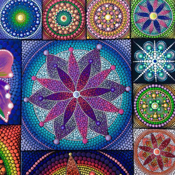 Original Purple Flower Mandala Painting on by CreateAndCherish
