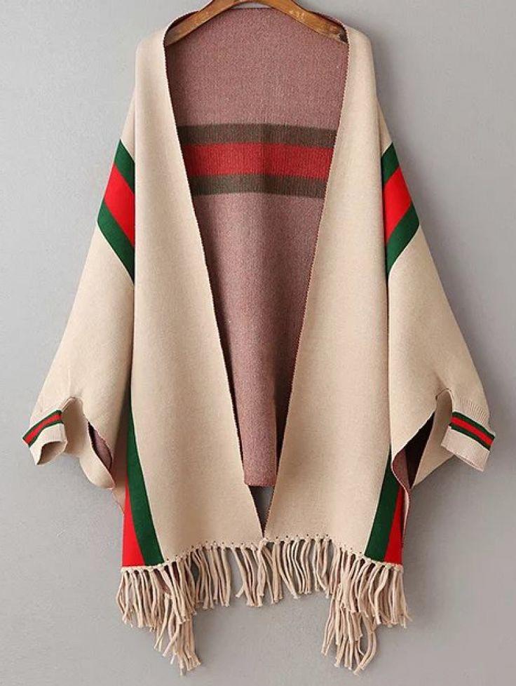 Buy Khaki Color Block Fringe Hem Poncho Sweater from abaday.com, FREE shipping Worldwide - Fashion Clothing, Latest Street Fashion At Abaday.com