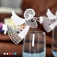 50 Pçs/set voando anjo oco cut cartão copo de vidro de vinho de papel lugar da tabela cartões de nome para casa da festa de aniversário festa de casamento decoração A4(China (Mainland))