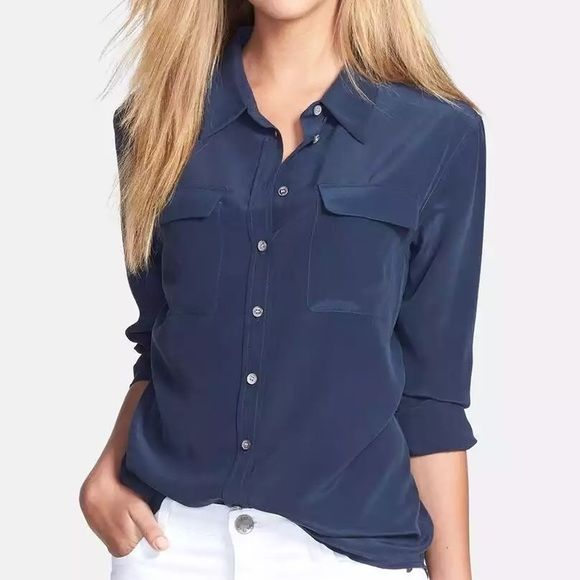 White And Navy Blouse 106