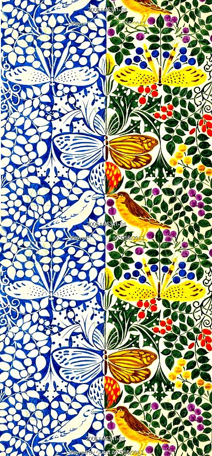 Butterflies and birds design, by C.F.A. Voysey. England, 1918