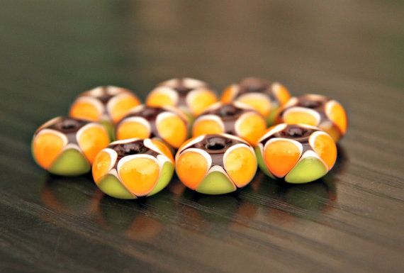 Amber and Lime Green Harlequin Pattern Handmade by blancheandguy, $52.00