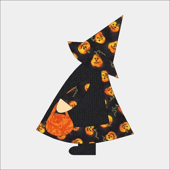 Sun Bonnet Sue Halloween Applique Pattern for Sewing Quilting Scrapbook Template