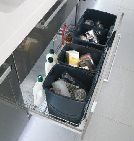 Un grand tiroir permettant de mettre trois poubelles cotes à cotes : normale (avec un couvercle qui se soulève avec une ficelle quand on ouvre, ou un couvercle automatique), poubelle jaune et verres