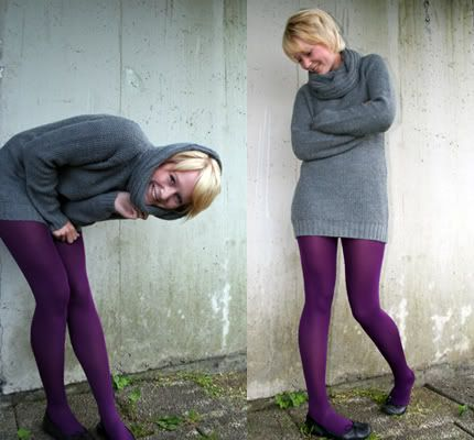 Gray sweater dress with purple tights